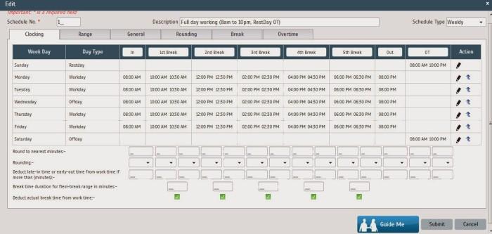 An example of Break Settings in TimeTec Cloud.