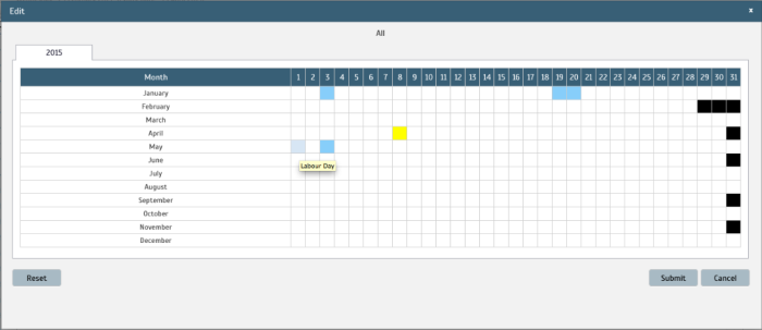 Company Holiday/Leave function allows you to view and edit your company's calendar