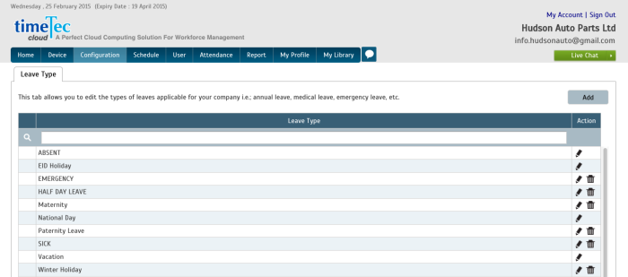 TimeTec allows you to define leave types according to your company's policy