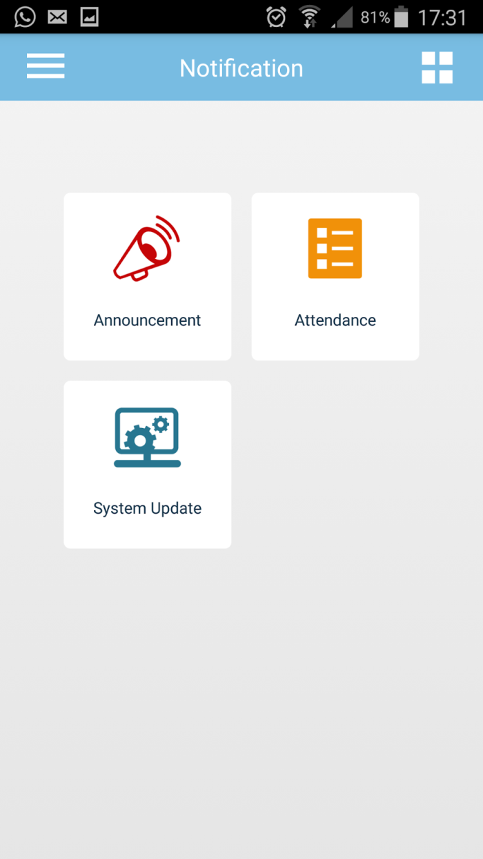 Set attendance monitoring notification or send company announcement to all users at any time via TimeTec mobile application.