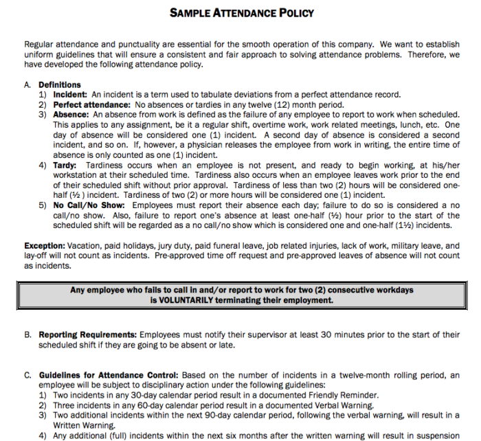 Sample Attendance Policy for a company, it could be as comprehensive or as simple as you want it to be.